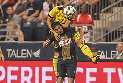 July 26, 2017 - Chester, PA, United States of America - Philadelphia Union Midfielder ALEJANDRO BEDOYA (11) attempts to head the ball as Columbus Crew SC Defender JUKKA RAITALA (2) defends in the second half of a Major League Soccer match between the Philadelphia Union and Columbus Crew SC Wednesday, July. 26, 2017, at Talen Energy Stadium in Chester, PA. (Credit Image: © Saquan Stimpson via ZUMA Wire)