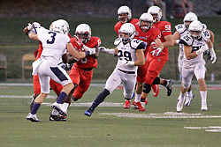 02 September 2017:   Artiss Henderson makes a cut between Billy Robinson and Jacob Balder during the Butler Bulldogs at  Illinois State Redbirds Football game at Hancock Stadium in Normal IL (Photo by Alan Look)