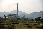 The Vedanta plant, Lanjigargh, Orissa. The Dongria Kondh are a protected 'Scheduled' Caste of Original (aboriginal) people that practice animism and live a settled rural life. Their deity is a mountain from which a mining company, Vedanta is seeking to extract bauxite which will largely destroy the mountain and the Kondh's traditional way of life.