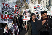 Protesters demonstrate on Whitehall against Saudi Crown Prince Mohammad Bin Salman official visit to the UK on 7th March 2018 in London, United Kingdom. Mohammad bin Salman started his visit to the UK with the Conservative Party and royal family rolling out the red carpet for Saudi Arabias crown prince as opposition politicians and rights groups call on the British Prime Minister to use the trip to challenge the kingdoms record on human rights. Campaigners accuse Mohammad bin Salman of being the 'chief architect' of the Yemen war, which has led to what the U.N.  describes as the worlds worst humanitarian crisis.