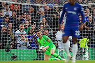 Chelsea goalkeeper Kepa Arrizabalaga (1) makes a save during the Premier League match between Chelsea and Liverpool at Stamford Bridge, London, England on 29 September 2018.