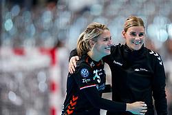 05-12-2019 JAP: Serbia - Netherlands, Kumamoto<br /> Fourth match groep A at 24th IHF Women's Handball World Championship, Netherlands win the fourth match against Serbia 23 - 36  / Angela Malestein #26 of Netherlands, Estavana Polman #79 of Netherlands