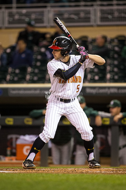 Brandon Lowe (5) of the Maryland Terrapins bats during a 2015 Big Ten Conference Tournament game between the Maryland Terrapins and Michigan State Spartans at Target Field on May 20, 2015 in Minneapolis, Minnesota. (Brace Hemmelgarn)