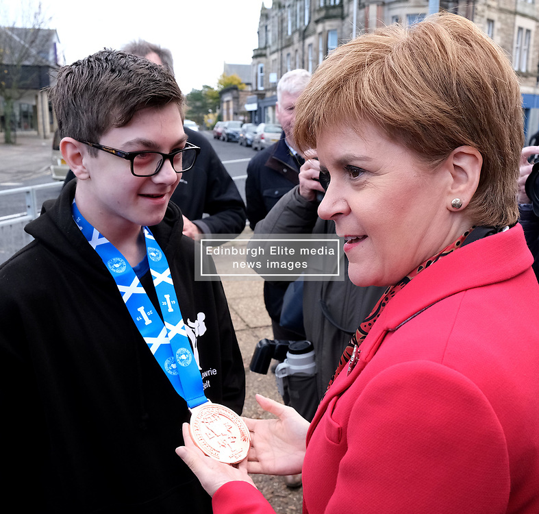"""Nicola Sturgeon, Tuesday 5th November 2019<br /> <br /> First Minister Nicola Sturgeon joined Owen Thompson, SNP candidate for Midlothian, to campaign in Dalkeith.<br /> <br /> Speaking ahead of the visit, Nicola Sturgeon said:<br /> <br /> """"Brexit is far from a done deal.<br /> <br /> """"Even if Boris Johnson was to get his deal passed, that would only be the beginning – not the end – of trade talks with the EU.<br /> <br /> """"We're already sick of Brexit – we don't want it to go on another ten years or more.<br /> <br /> """"So Scotland must not face a lost decade of Brexit chaos that we didn't vote for.<br /> <br /> """"A vote for the SNP is a vote to escape from Brexit and for Scotland's right to choose our own future."""" <br /> <br /> Pictured: Nicola Sturgeon meets supporters and members of the community in Dalkeith<br /> <br /> Alex Todd   Edinburgh Elite media"""