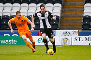 Mateo Muzek of St Mirren runs with the ball during the Ladbrokes Scottish Premiership match between St Mirren and Livingston at the Simple Digital Arena, Paisley, Scotland on 2nd March 2019.