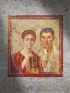 Roman fresco  portrait of a baker, Terentius, and his wife in the pose of intellectuals, Naples National Archaeological Museum , their expressions capture the sense of a real moment that connects with the viewer in a direct realistic way , Pompeii VII 2,6 , inv 9058 , .<br /> <br /> If you prefer to buy from our ALAMY PHOTO LIBRARY  Collection visit : https://www.alamy.com/portfolio/paul-williams-funkystock - Scroll down and type - Roman Art Erotic  - into LOWER search box. {TIP - Refine search by adding a background colour as well}.<br /> <br /> Visit our ROMAN ART & HISTORIC SITES PHOTO COLLECTIONS for more photos to download or buy as wall art prints https://funkystock.photoshelter.com/gallery-collection/The-Romans-Art-Artefacts-Antiquities-Historic-Sites-Pictures-Images/C0000r2uLJJo9_s0