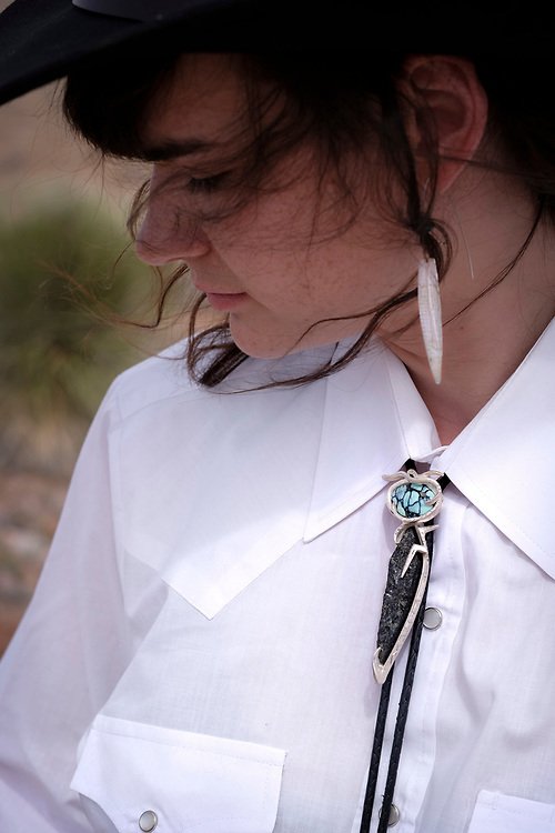 Southwest New Mexico Neo Western Cowgirl Bolo Tie photoshoot on the old Separ Road near Silver City..
