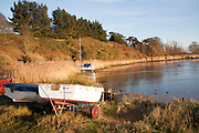 Yacht moored amongst reeds on the River Deben, Ramsholt, Suffolk, England