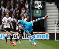 Dominic Iorfa of Wolverhampton Wanderers hooks the ball past Johnny Russell of Derby County - Mandatory byline: Robbie Stephenson/JMP - 07966 386802 - 18/10/2015 - FOOTBALL - iPro Stadium - Derby, England - Derby County v Wolverhampton Wanderers - Sky Bet Championship