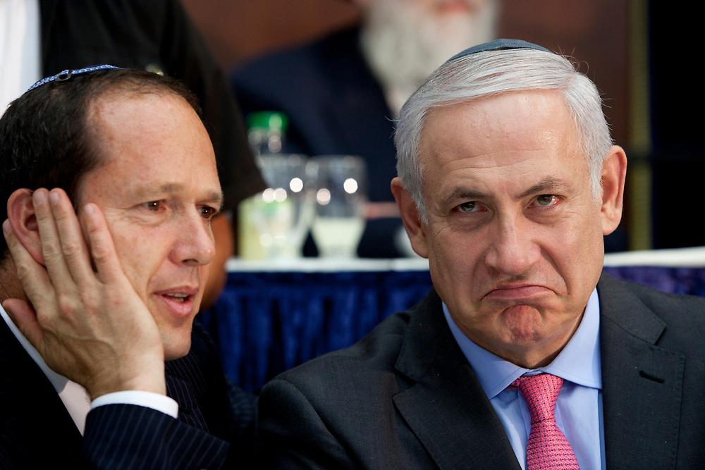 Israeli Prime Minister Benjamin Netanyahu (R) and Mayor of Jerusalem Nir Barkat attend the opening of Jerusalem Day celebrations at the Merkaz Harav Yeshiva in Jerusalem, on May 31, 2011.