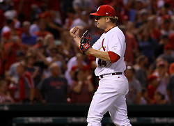 July 28, 2017 - St. Louis, MO, USA - St. Louis Cardinals closer Trevor Rosenthal celebrates the final out in a 1-0 win against the Arizona Diamondbacks at Busch Stadium in St. Louis on Friday, July 28, 2017. (Credit Image: © Christian Gooden/TNS via ZUMA Wire)