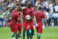 Portugal Midfielder Danilo Pereira sharing a laugh with team mates during the Euro 2016 final between Portugal and France at Stade de France, Saint-Denis, Paris, France on 10 July 2016. Photo by Phil Duncan.