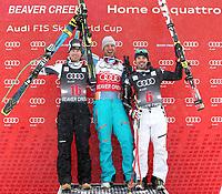 Alpint<br /> FIS World Cup<br /> Beaver Creek USA<br /> 06.12.2013<br /> Foto: Gepa/Digitalsport<br /> NORWAY ONLY<br /> <br /> FIS Weltcup, Abfahrt der Herren. Bild zeigt den Jubel von Hannes Reichelt (AUT), Aksel Lund Svindal (NOR) und Peter Fill (ITA).