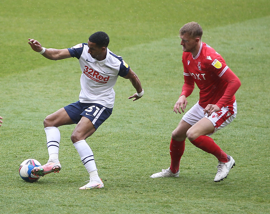 Preston North End's Scott Sinclair in action with  Nottingham Forest's Joe Worrall<br /> <br /> Photographer Mick Walker/CameraSport<br /> <br /> The EFL Sky Bet Championship - Nottingham Forest v Preston North End - Saturday 8th May 2021 - The City Ground - Nottingham<br /> <br /> World Copyright © 2020 CameraSport. All rights reserved. 43 Linden Ave. Countesthorpe. Leicester. England. LE8 5PG - Tel: +44 (0) 116 277 4147 - admin@camerasport.com - www.camerasport.com