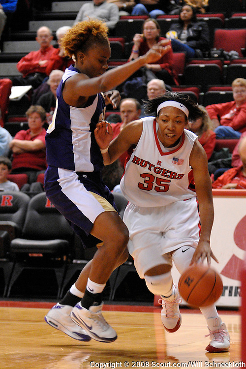 Dec 11, 2008; Piscataway, NJ, USA; Rutgers Rutgers guard Brittany Ray (35) works past a Prairie View A&M defender during the second half of Rutgers' 58-56 victory at the Louis Brown Athletic Center.