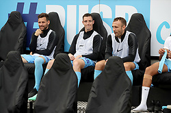 Coventry City's Tony Andreu (left), Dominic Hyam (centre) and Liam Kelly on the substitute's bench prior to kick-off