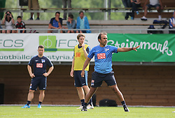 04.08.2014, Athletic Area, Schladming, AUT, Hertha BSC, im Bild von links Alexander Baumjohann (Hertha BSC, #9), Peter Niemeyer (Hertha BSC, #18) und Jos Luhukay (Hertha BSC, Trainer) // during a training session of the German Bundesliga Club Hertha BSC at the Athletic Area, Austria on 2014/08/04. EXPA Pictures © 2014, PhotoCredit: EXPA/ Martin Huber