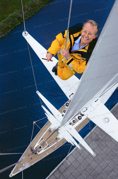 Jim Clark, founder of Silcon Graphics, Netscape and Healtheon atop the 192' mast of his cutter rigged superyacht when it was being built in Holland in 1998.  At the time it was the tallest mast in the world.  <br /> Jim Clark, founder of Silcon Graphics, Netscape and Healtheon.