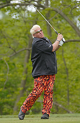 May 24, 2019 - Benton Harbor, NY, U.S. - ROCHESTER, NY - MAY 24: John Daly hits his tee shot during the second round of the KitchenAid Senior PGA Championship at Oak Hill Country Club on May 24, 2019 in Rochester, New York. (Photo by Jerome Davis/Icon Sportswire) (Credit Image: © Jerome Davis/Icon SMI via ZUMA Press)