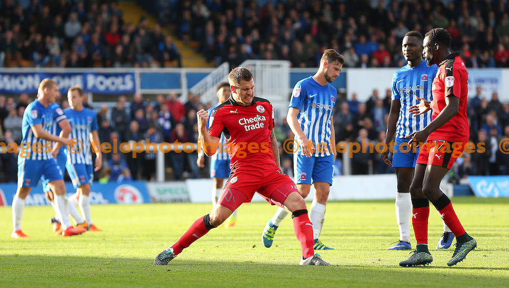 Crawley's James Collins celebrates equalising from the spot during the Sky Bet League 2 match between Hartlepool United and Crawley Town at Victoria Park in Hartlepool. October 8, 2016.<br /> James Boardman / Telephoto Images<br /> +44 7967 642437