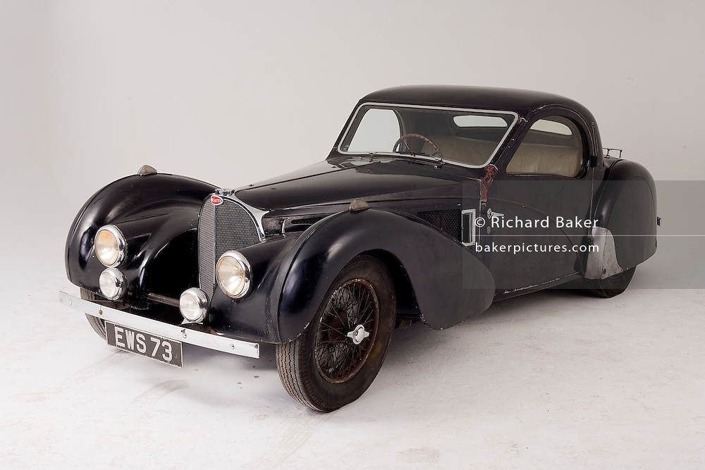 Found in a garage where it had been stored virtually untouched for 50 years, this 1937 Bugatti Type 57s Atalante sports car is previewd for the first time before a Bonhams auction in Paris on February 7th 2009.
