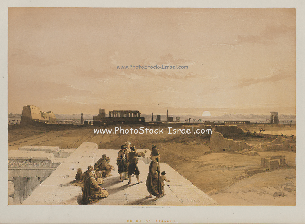Ruins of Karnac from Egypt and Nubia, Volume I: Ruins of Karnac, 1847. Louis Haghe (British, 1806-1885), F.G.Moon, 20 Threadneedle Street, London, after David Roberts (British, 1796-1864). Color lithograph; sheet: 43 x 60.4 cm (16 15/16 x 23 3/4 in.); image: 35.2 x 51 cm (13 7/8 x 20 1/16 in.).