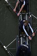 © Peter Spurrier Sports Photo<br />email - pictures@rowingpics.com<br />tel +44 (0) 7973 819 551<br />2002 Varsity Boat Race<br />26/3/2002<br />Goldie, from Hammersmith Bridge 20020327 University Boat Race, [Varsity],  Tideway Week. Putney. London