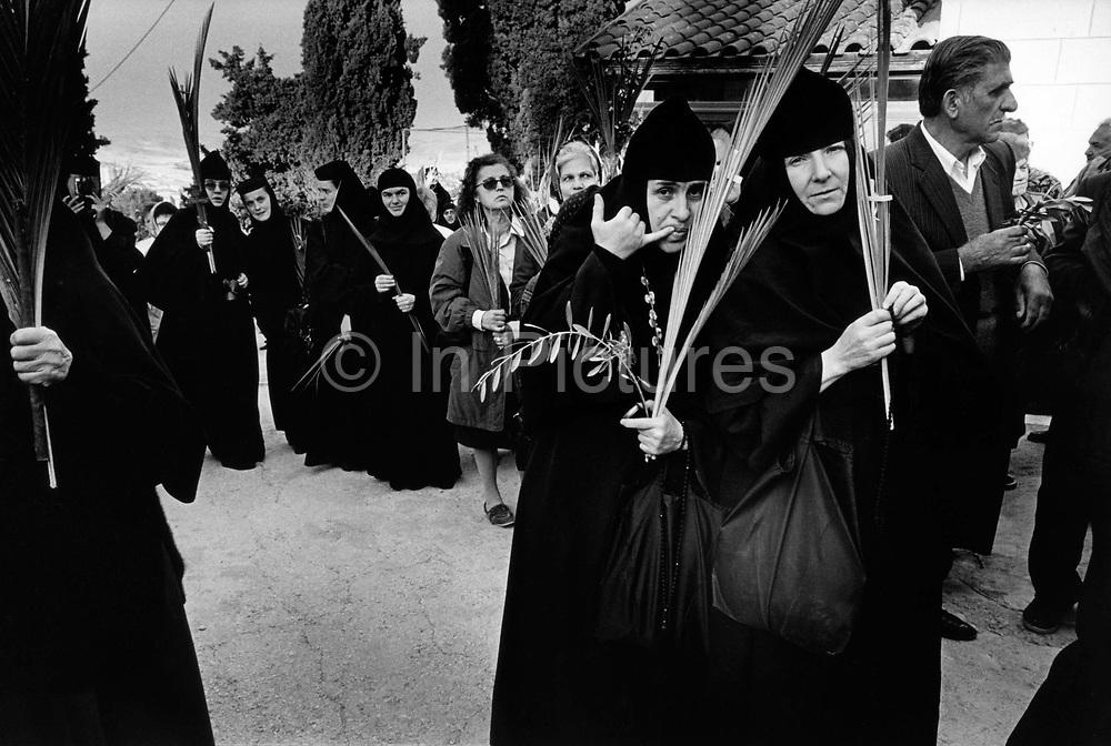 Pilgrims at the Greek Orthodox Monastery on Palm Sunday, Bethany, Israel