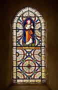 Stained glass window depicting Saint Peter, Kenton church, Suffolk, England, UK 1871 Lavers, Barraud and Westlake