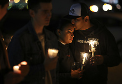 Oct. 2, 2017 - Las Vegas, U.S. - People attend a candle light vigil to mourn the victims of a mass shooting in Las Vegas, the United States. At least 59 people were killed and 527 others wounded after a gunman opened fire Sunday on a concert in Las Vegas in the U.S. state of Nevada, the deadliest mass shooting in modern U.S. history.  (Credit Image: © Wang Ying/Xinhua via ZUMA Wire)