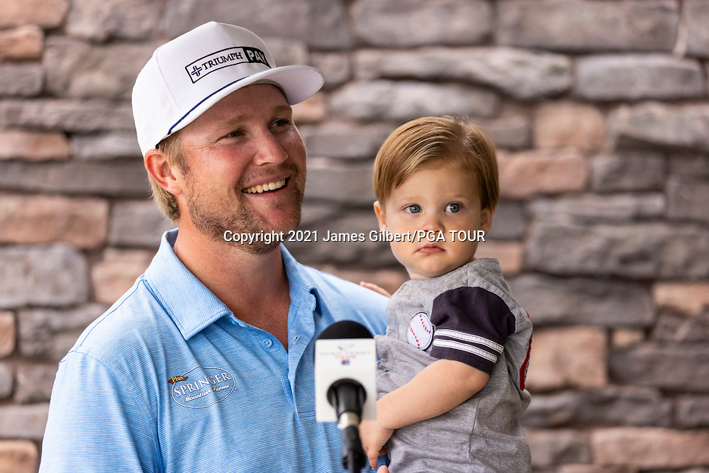 NEWBURGH, IN - SEPTEMBER 04: Trey Mullinax speaks to the media after the third round of the Korn Ferry Tour Championship presented by United Leasing and Financing at Victoria National Golf Club on September 4, 2021 in Newburgh, Indiana. (Photo by James Gilbert/PGA TOUR)