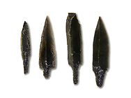 Black obsidian arrow heads. Catalhoyuk Collections. Museum of Anatolian Civilisations, Ankara. Against a white background .<br /> <br /> If you prefer you can also buy from our ALAMY PHOTO LIBRARY  Collection visit : https://www.alamy.com/portfolio/paul-williams-funkystock/prehistoric-neolithic-art.html - Type Catalhoyuk into the LOWER SEARCH WITHIN GALLERY box. Refine search by adding background colour, place, museum etc.<br /> <br /> Visit our PREHISTORIC PLACES PHOTO COLLECTIONS for more  photos to download or buy as prints https://funkystock.photoshelter.com/gallery-collection/Prehistoric-Neolithic-Sites-Art-Artefacts-Pictures-Photos/C0000tfxw63zrUT4