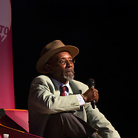 Linton Kwesi Johnson<br /> On stage at the Stoke Newington Literary Festival. 7 June 2014<br /> <br /> Picture by David X Green/Writer Pictures