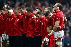 Wales players sing the anthems<br /> <br /> Photographer Simon King/Replay Images<br /> <br /> Six Nations Round 5 - Wales v Ireland - Saturday 16th March 2019 - Principality Stadium - Cardiff<br /> <br /> World Copyright © Replay Images . All rights reserved. info@replayimages.co.uk - http://replayimages.co.uk