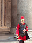 Man dressed as a Roman centurion outside the Pantheon, Rome, Italy.