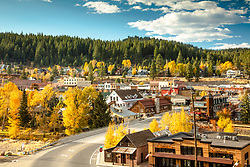 """""""Downtown Truckee 61"""" - Photograph of historic Downtown Truckee shot in Autumn, yellow cottonwood and aspen trees can be seen."""