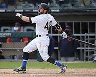 CHICAGO - APRIL 15:  Adam Eaton #42 of the Chicago White Sox bats against the Cleveland Indians as Major League Baseball celebrated Jackie Robinson Day on April 15, 2021 at Guaranteed Rate Field in Chicago, Illinois.  (Photo by Ron Vesely/Getty Images).  (Photo by Ron Vesely) Subject:  Adam Eaton