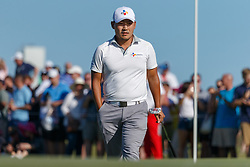 May 12, 2019 - Dallas, TX, U.S. - DALLAS, TX - MAY 12: Sung Kang walks up to mark his ball on the #18 green during the final round of the AT&T Byron Nelson on May 12, 2019 at Trinity Forest Golf Club in Dallas, TX. (Photo by Andrew Dieb/Icon Sportswire) (Credit Image: © Andrew Dieb/Icon SMI via ZUMA Press)