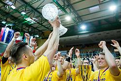Luka Zvizej of RK Celje PL and other players celebrate after winning during handball match between RK Celje Pivovarna Lasko and RK Gorenje Velenje in Final of Slovenian Handball Cup 2015, on March 29, 2015 in Arena Bonifika, Koper, Slovenia. RK Celje Pivovarna Lasko became Slovenian Cup Champion 2015. Photo by Vid Ponikvar / Sportida