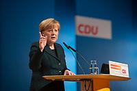 09 DEC 2014, KOELN/GERMANY:<br /> Angela Merkel, CDU, Bundeskanzlerin, haelt ihre Rede als Parteivorsitzende der CDU, CDU Bundesparteitag, Messe Koeln<br /> IMAGE: 20141209-01-017<br /> KEYWORDS: Party Congress