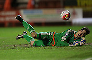 Jack Rose, West Bromwich Albion goal keeper saves during the Barclays U21 Premier League match between Brighton U21 and U21 West Bromwich Albion at the Checkatrade.com Stadium, Crawley, England on 25 January 2016.
