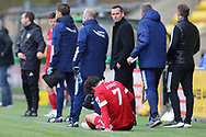 Aberdeen's Fraser Hornby (7) goes down injured during the Scottish Premiership match between Livingston and Aberdeen at Tony Macaroni Arena, Livingstone, Scotland on 1 May 2021.