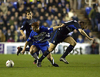 Picture: Henry Browne.<br />Date: 03/12/2003.<br />Chelsea v Reading Carling Cup 4th Round.<br />Steve Sidwell of Reading fends off Chelsea's Jesper Gronkjaer of Chelsea
