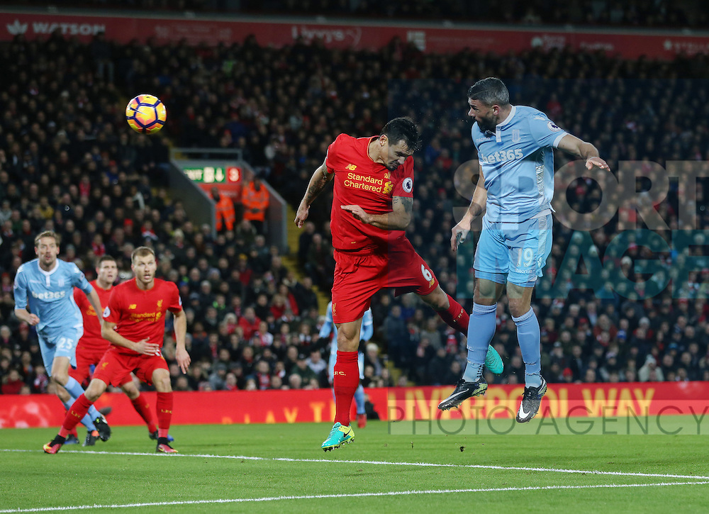 Stoke's Jonathan Walters scoring his sides opening goal during the Premier League match at Anfield Stadium, Liverpool. Picture date December 27th, 2016 Pic David Klein/Sportimage