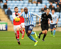 Coventry City's Marc-Antoine Fortune vies for possession with Fleetwood Town's Jimmy Ryan<br /> <br /> Photographer Andrew Vaughan/CameraSport<br /> <br /> Football - The Football League Sky Bet League One - Coventry City v Fleetwood Town - Saturday 27th February 2016 - Ricoh Stadium - Coventry   <br /> <br /> © CameraSport - 43 Linden Ave. Countesthorpe. Leicester. England. LE8 5PG - Tel: +44 (0) 116 277 4147 - admin@camerasport.com - www.camerasport.com