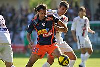 FOOTBALL - FRENCH CHAMPIONSHIP 2010/2011 - L1 - MONTPELLIER HSC v OGC NICE - 10/04/2011 - PHOTO SYLVAIN THOMAS / DPPI - HASAN KABZE (MON) / NEMANJA PEJCINOVIC (OGCN)