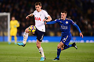 Jan Vertonghen of Tottenham Hotspur in action with Jamie Vardy of Leicester city (r) .Premier league match, Leicester City v Tottenham Hotspur at the King Power Stadium in Leicester, Leicestershire on Tuesday 28th November 2017.<br /> pic by Bradley Collyer, Andrew Orchard sports photography.