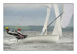470 Class European Championships Largs - Day 3.Brighter conditions with more wind..CRO83, Sime FANTELA, Igor MARENIC .