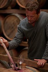 Sampling wine in barrels (Credit Image: å© Image Source/Albert Van Rosendaa/Image Source/ZUMAPRESS.com)