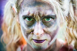 © Licensed to London News Pictures. 09/06/2018. Knaresborough UK. Helen Easton who is competing in the Knarsborough bed race today dressed as a zombie. Knaresborough bed race is taking place today in the town of Knaresborough in Yorkshire. The race first held in 1966 is part fancy dress & part gruelling time trial over a 2.4 mile course ending with a swim through the River Nidd. Photo credit: Andrew McCaren/LNP